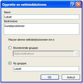 Opprett en dialogboks for nettstedskolonner