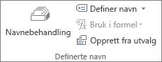 Definerte navn-gruppen i kategorien Formler