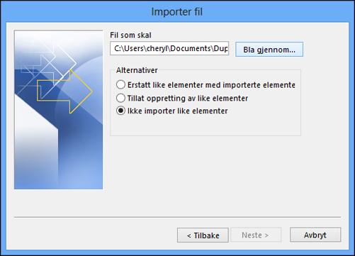 Velg filen du vil importere.