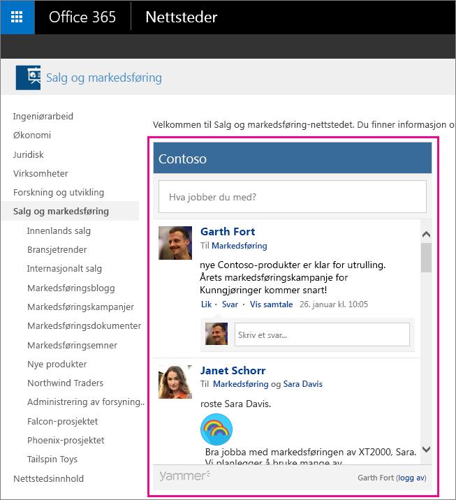 En Yammer-gruppefeed innebygd i en SharePoint-side
