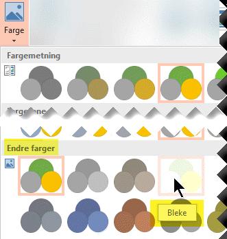 Velg Farge i Bildeverktøyformat-fanen på verktøylinjebåndet. Velg Utvasking under Endre farge.