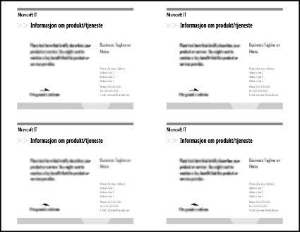Forhåndsvisning av postkortutskrift som viser fire postkort på papirarket.