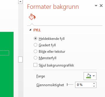Angi fargen på bakgrunnen i Farge-listen i Formater bakgrunn-ruten.