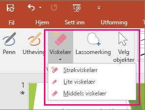 Viser knappen Viskelær i Håndskriftverktøy i Office