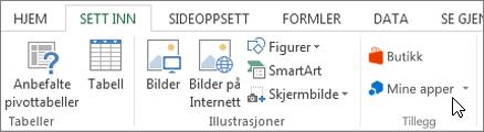 Skjermbilde av en del av kategorien Sett inn på båndet i Excel med en markør som peker på Mine apper. Velg Mine apper til access-apper for Excel.