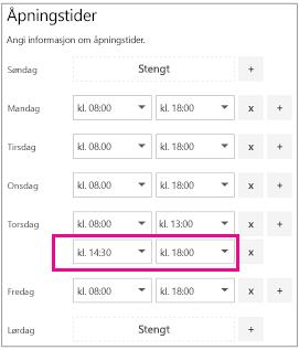 Åpningstider side med nylig tillagt andre raden i tid i kalenderen