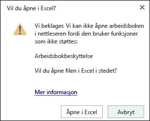 Dialogboksen når du åpner en passordbeskyttet arbeidsbok i Excel Online