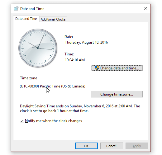 Et skjermbilde som viser Dato og tid-menyen i Windows 10.