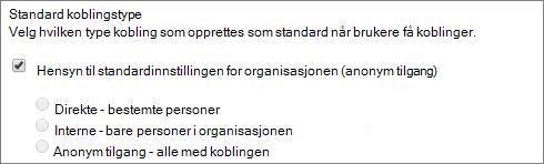 Skjermbilde av koblingen type standardinnstillingene for en områdesamling