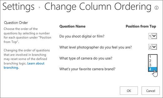 Endre spørsmål rekkefølge dialogboksen med rullegardinliste på et spørsmål som er uthevet
