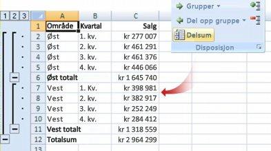 Delsammendrag-kommandoen grupperer dataene til en disposisjon