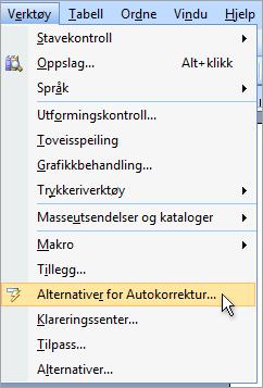 Få tilgang til Autokorrektur-dialogboksen