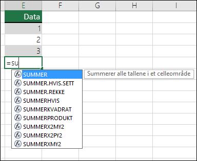 Autofullføring av formler i Excel