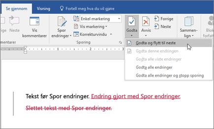 Sporing av endringer i Office 365 Word