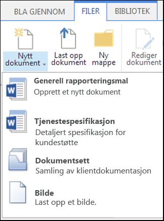 Menyen Nytt dokument med tilpassede innholdstyper i SharePoint