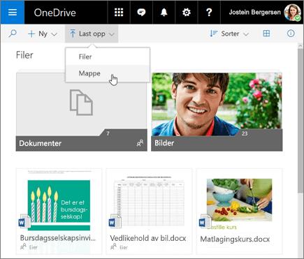 Last opp mappe i OneDrive