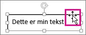Markør på en kantlinje for en tekstboks endret til en firehodet pil