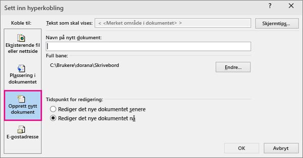 dialogboksen der du kan legge til en kobling til et nytt dokument