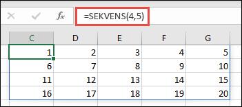 Eksempel på SEKVENS-funksjonen med en 4 x 5-matrise