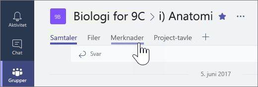 Klassenotatblokker i Microsoft Teams for samarbeid