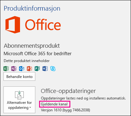Produktkontoinformasjon for månedskanal i Office 365 Business-abonnementet