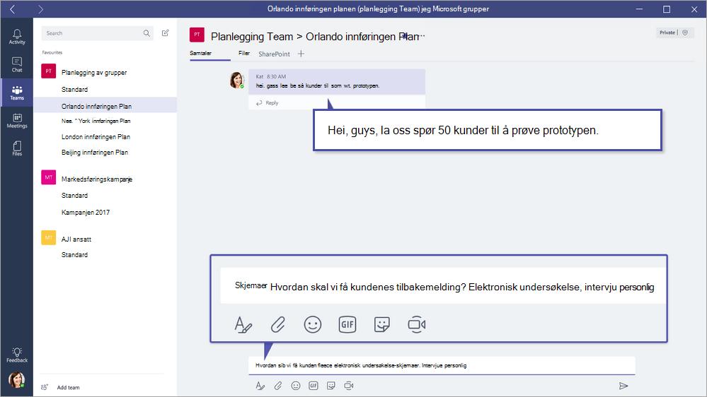 Microsoft Forms-QuickPoll i Microsoft Teams