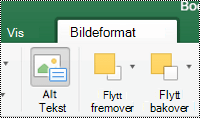 Alternativ tekst-knappen for bilder på båndet i Excel for Mac
