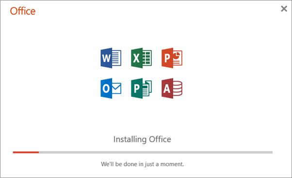 Viser fremdriftsdialogboksen som vises når Office installeres