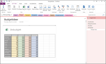 Oversikt over et Excel-regneark på en side i OneNote