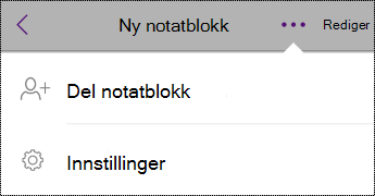 Innstillinger-knapp i Notatblokker iPhone.