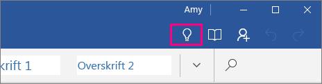 Viser hvor Fortell meg det-ikonet er på båndet i Word Mobile