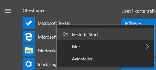 Skjermbilde som viser alternativet Fest til Start valgt for Microsoft To-Do i Start-menyen