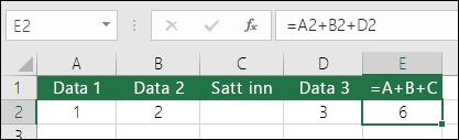 = A+B+C-formler oppdateres ikke om du legger til rader