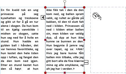 Skjermbilde av en tekstboks med overflyttekst som er klar for å flyte over i en annen tekstboks.