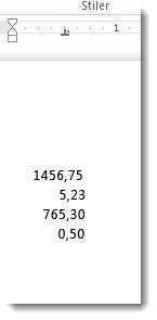 Tall som er justert etter en desimaltabulator