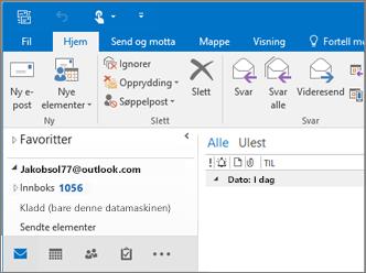 Et bilde av hvordan det ser ut når du har en Outlook.com-konto i Outlook 2016.