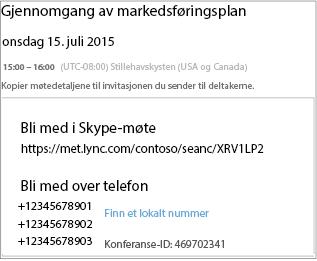 Eksempel på skjermbilde som viser møtedetaljer