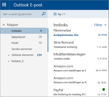 Primærskjerm for Outlook.com eller Hotmail.com