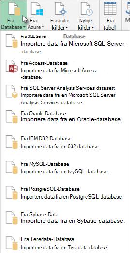 Dialog boksen Hent data fra database
