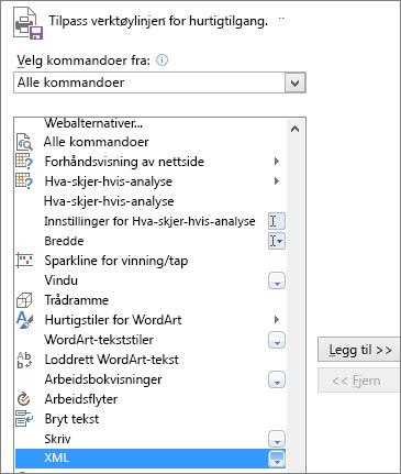 Velg XML i listen over kommandoer, og klikk så Legg til.