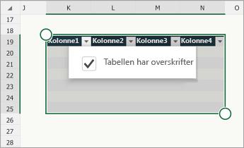 Tabell der avmerkingsboksen «Tabellen har topptekster» er valgt.