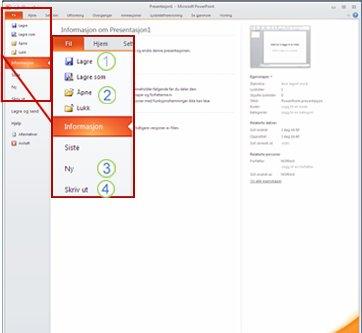 Kategorien Fil på PowerPoint 2010-båndet.