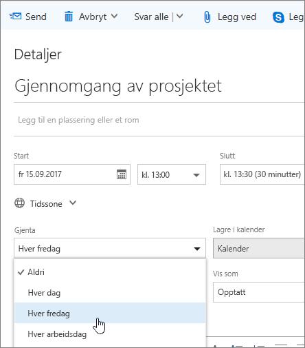 Skjermbilde av ruten Ny kalenderhendelse, som viser Gjenta-boksen.