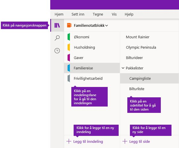 Inndelinger og sider i OneNote for Windows 10