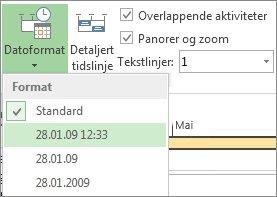 Knapp og meny for Datoformat på tidslinjen i Project