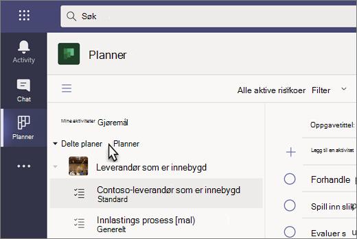 Skjermbilde av oppgaver-appen i Teams, for tiden kalt Planner