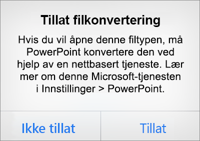 Viser personvernsledeteksten for ODF i PowerPoint for iPhone