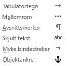 Dette er formateringstegnene som er tilgjengelige i e-postmeldinger.