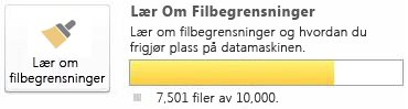 Dokumentmåler i SharePoint Workspace ved bruk av 7500 til 9999 dokumenter