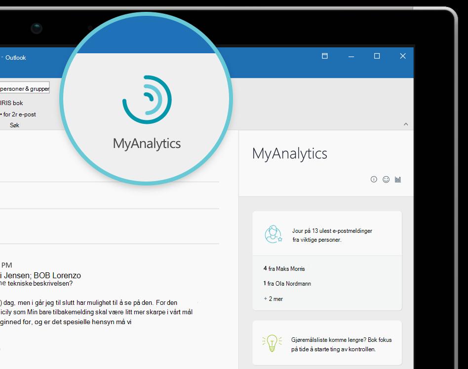 Skjermbilde av MyAnalytics logo og navigasjon-ruten